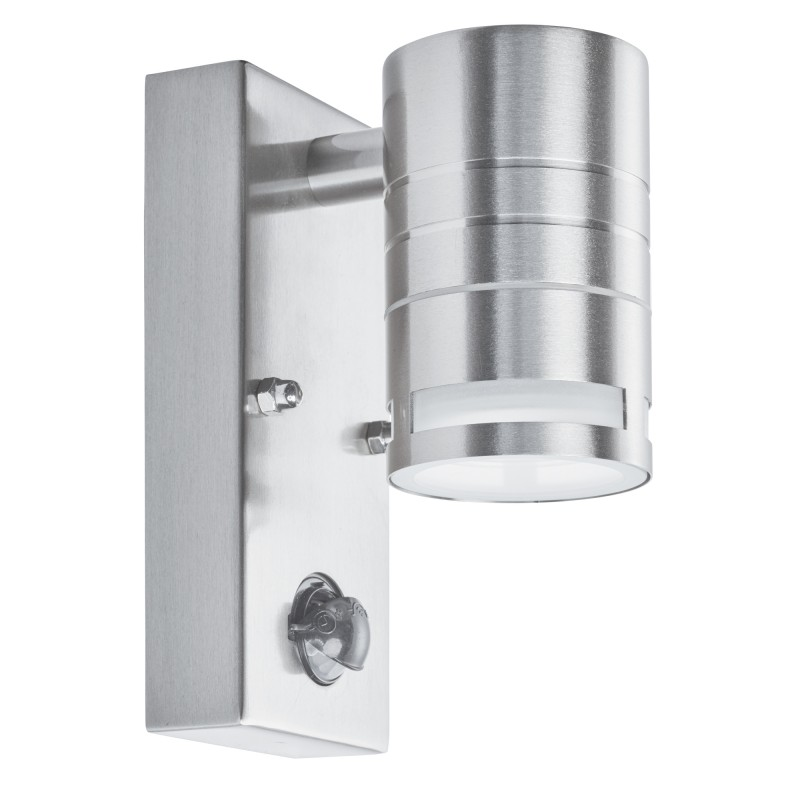 OUTDOOR & PORCH (GU10 LED) - 1LT PIR WALL BRACKET STAINLESS STEEL FROSTED GLASS