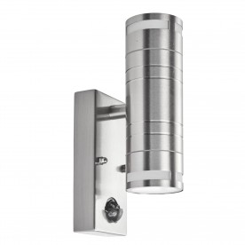 OUTDOOR & PORCH (GU10 LED) - 2LT PIR WALL BRACKET STAINLESS STEEL FROSTED GLASS