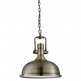 INDUSTRIAL PENDANT - 1LT PENDANT ANTIQUE BRASS FROSTED GLASS