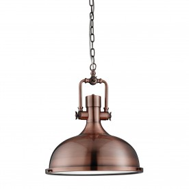 INDUSTRIAL PENDANT - 1LT PENDANT ANTIQUE COPPER FROSTED GLASS