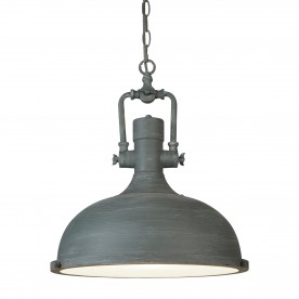 INDUSTRIAL PENDANT - 1LT PENDANT CEMENT FINISH FROSTED GLASS