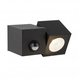DALLAS OUTDOOR PIR 1LT CUBE LED WALL BRACKET BLACK