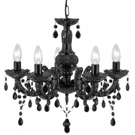 MARIE THERESE - 5LT CEILING BLACK GLASS/ACRYLIC