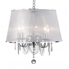 VENETIAN - 5LT CEILING CHROME CHAIN LINK CLEAR CRYSTAL GLASS WHITE VIOLE SHADE