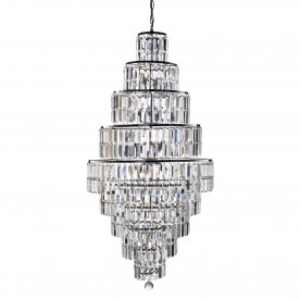 EMPIRE - 13LT CHANDELIER CHROME CLEAR CRYSTAL