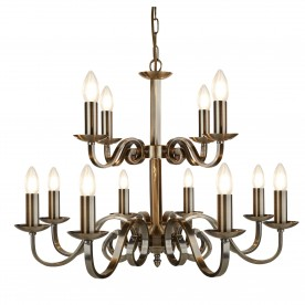 RICHMOND - 12LT CEILING ANTIQUE BRASS SCROLL ARMS