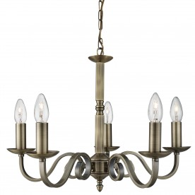 RICHMOND - 5LT CEILING ANTIQUE BRASS SCROLL ARMS