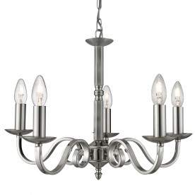 RICHMOND - 5LT CEILING SATIN SILVER SCROLL ARMS