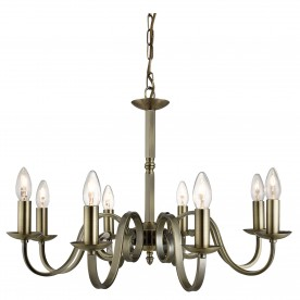 RICHMOND - 8LT CEILING ANTIQUE BRASS SCROLL ARMS