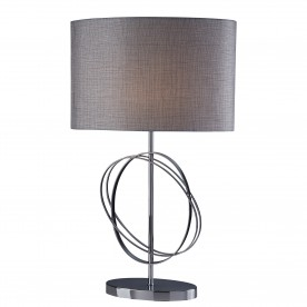 COVENTRY TABLE LAMP CHROME RINGS WITH SILVER OVAL SHADE