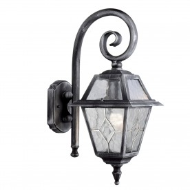 GENOA - 1LT OUTDOOR WALL BRACKET BLACK SILVER CLEAR LEADED GLASS