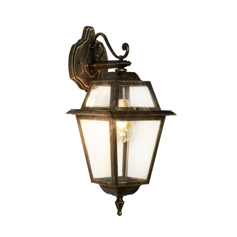 NEW ORLEANS - 1LT OUTDOOR (DOWNLIGHT) WALL BRACKET BLACK GOLD CLEAR GLASS
