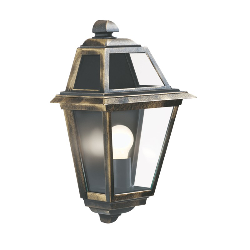 NEW ORLEANS - 1LT OUTDOOR WALL BRACKET BLACK GOLD CLEAR GLASS