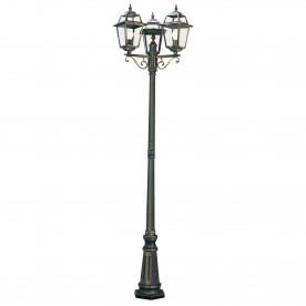 NEW ORLEANS - 3LT OUTDOOR POST (Height 230cm) BLACK GOLD CLEAR GLASS
