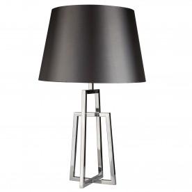 YORK TABLE LAMP CROSSED FRAME CHROME BLACK TAPERED SHADE