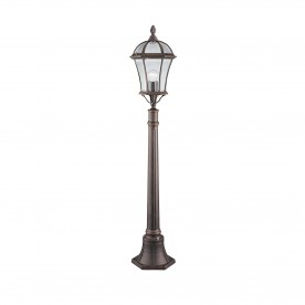 CAPRI - 1LT OUTDOOR POST (HEIGHT 95cm) RUSTIC BROWN CLEAR GLASS