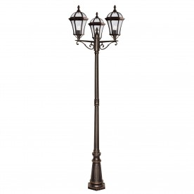 CAPRI - 3LT OUTDOOR POST (HEIGHT 235cm) RUSTIC BROWN CLEAR GLASS
