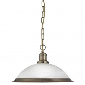 BISTRO - 1LT PENDANT ANTIQUE BRASS MARBLE GLASS