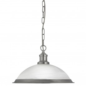 BISTRO - 1LT PENDANT SATIN SILVER MARBLE GLASS