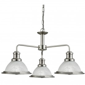 BISTRO - 3LT CEILING SATIN SILVER MARBLE GLASS