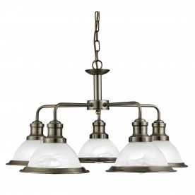 BISTRO - 5LT CEILING ANTIQUE BRASS MARBLE GLASS