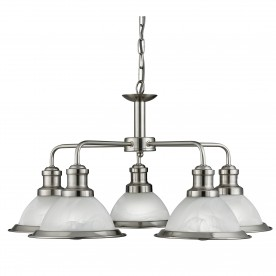 BISTRO - 5LT CEILING SATIN SILVER MARBLE GLASS