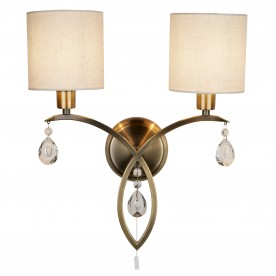 ALBERTO 2LT WALL BRACKET ANTIQUE BRASS LINEN SHADES