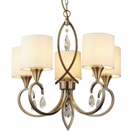 ALBERTO 5LT PENDANT ANTIQUE BRASS CLEAR CRYSTAL DROPS LINEN SHADES