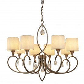 ALBERTO 8LT PENDANT ANTIQUE BRASS LINEN SHADES