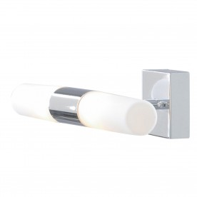 LIMA BATHROOM -  IP44 (G9 LED) 2LT CHROME  WALL BRACKET WHITE GLASS