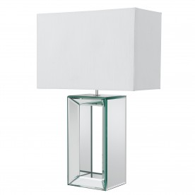 MIRROR TABLE LAMP - TALL WHITE  - WHITE FAUX SILK SHADE