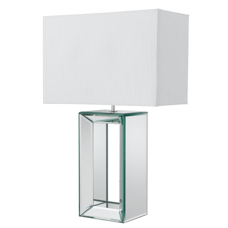 MIRROR TABLE LAMP - TALL WHITE  - WHITE FAUX SILK SHADE