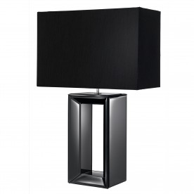 MIRROR TABLE LAMP - TALL BLACK -  BLACK FAUX SILK SHADE