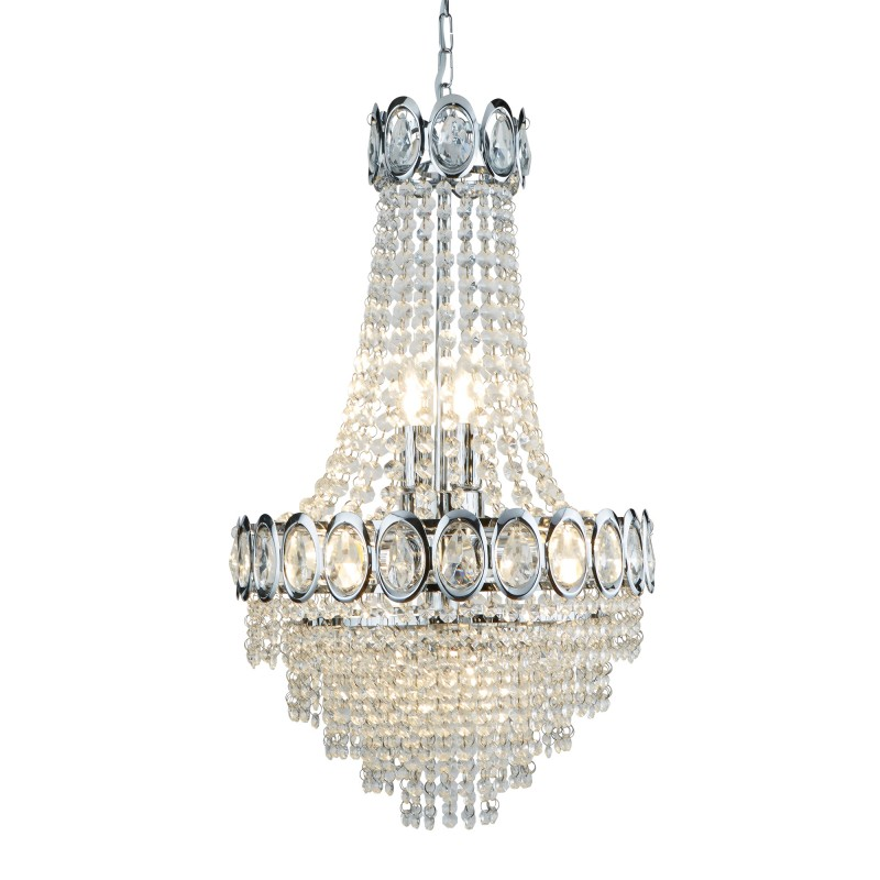 LOUIS PHILIPE CRYSTAL 6LT CHROME CHANDELIER WITH CLEAR GLASS  BEADS