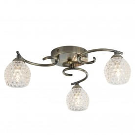 MINNIE 3LT CEILING FLUSH ANTIQUE BRASS DIMPLED CLEAR GLASS SHADES