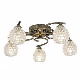 MINNIE 5LT CEILING FLUSH ANTIQUE BRASS DIMPLED CLEAR GLASS SHADES