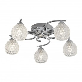 MINNIE 5LT CEILING FLUSH CHROME DIMPLED CLEAR GLASS SHADES