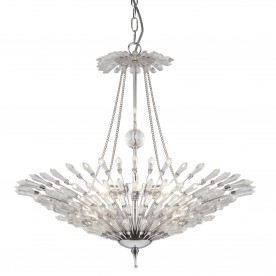 FAN 6LT CEILING PENDANT CHROME CLEAR GLASS TRIM