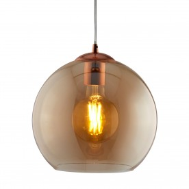 BALLS 1LT ROUND PENDANT (30cm dia) AMBER GLASS ANTIQUE BRASS