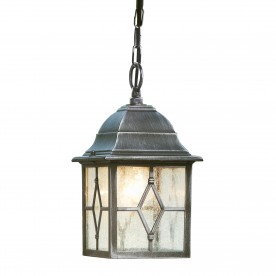 GENOA - 1LT OUTDOOR PENDANT  BLACK SILVER LEADED GLASS