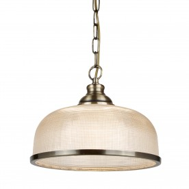 BISTRO II - 1LT PENDANT ANTIQUE BRASS HALOPHANE GLASS