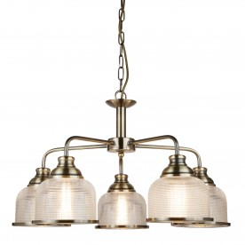 BISTRO II - 5LT CEILING ANTIQUE BRASS HALOPHANE GLASS