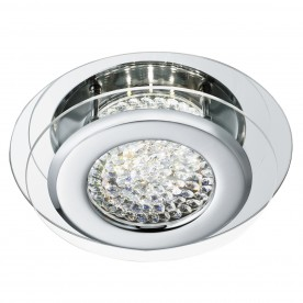VESTA LED CEILING FLUSH CHROME CLEAR CRYSTAL CENTRE DECO