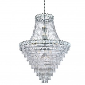 LOUIS PHILIPE CRYSTAL - 28LT TIERED CHANDELIER CLEAR CRYSTAL DRESSING CHROME FRAME