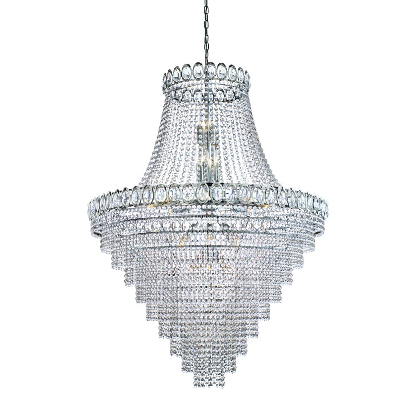 Louis Philipe Chrome 28 Light Chandelier