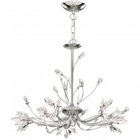Catherine Collection 5 Light Chrome Finish and Black Crystal Chandelier 18