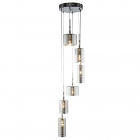 LINEN 6LT MULTI DROP PENDANT CHROME