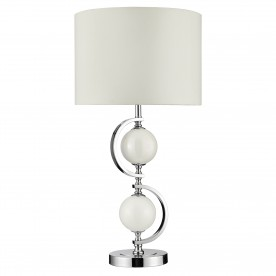 TABLE LAMP - CHROME WHITE GLASS BALLS & DRUM SHADE