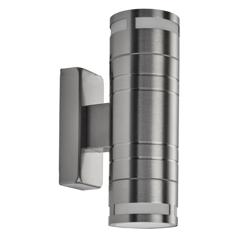 LED OUTDOOR & PORCH (GU10 LED) - 2LT WALL BRACKET STAINLESS STEEL FROSTED GLASS