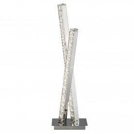 CLOVER 2LT LED COLUMN TABLE LAMP CLEAR CRYSTAL TRIM CHROME